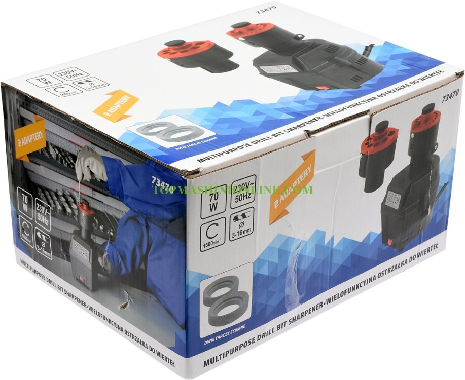 Машина за заточване на свредла Toya 73470 с 2 приставки и остриета, за свредла Ø 3 - 16 мм, 70 W image