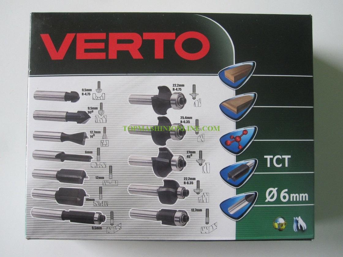 Комплект фрезери за дърво Ø 6 мм Verto 60H008 12 броя, в дървена кутия image