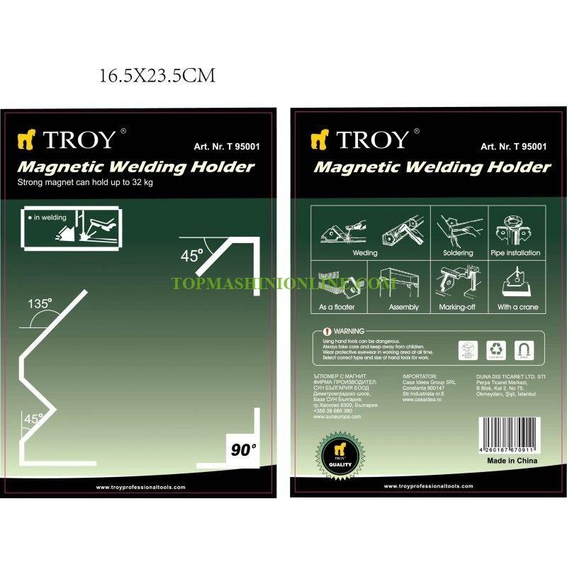 Магнитен позиционер за заваряване Troy 95001 190x122x23 мм, 32 кг, 45°, 90°, 135° image