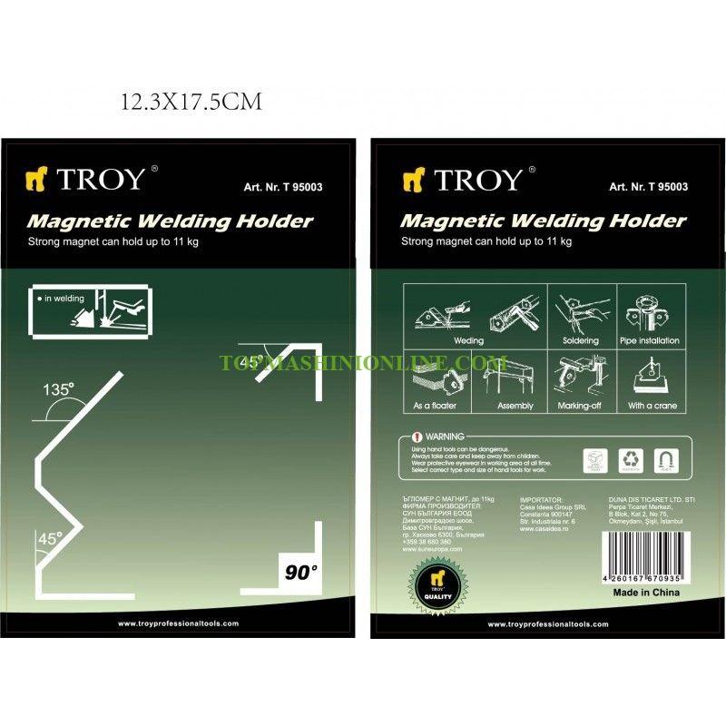 Магнитен позиционер за заваряване Troy 95003 120x82x13 мм, 11 кг, 45°, 90°, 135° image