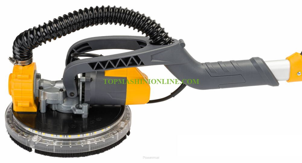 Машина за шлайфане на стени и тавани с кръгла глава с LED работна светлина Powermat PM-DG-1500M с мощост 1500 W, Ø 225 мм, торба за събиране на прах image