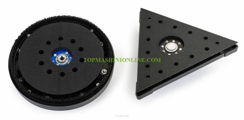 Машина за шлайфане на стени и тавани с кръгла и триъгълна глава с LED работна светлина Powermat PM-DG-1450DL с мощост 1450 W, Ø 225 мм image