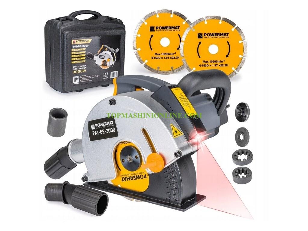 Фреза за канали с лазер Powermat PM-BE-3000 с мощност 3000 W, диск 150 мм в куфар image